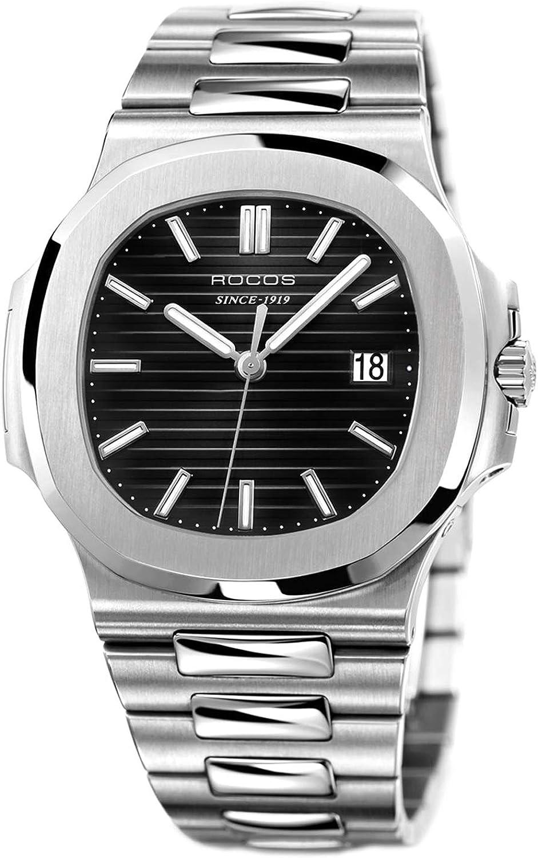 ROCOS Reloj Automatico Relojes de Pulsera Mecanico para Hombre Clasico 40mm R0139