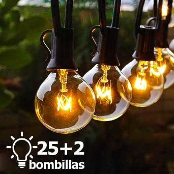 Luces para patio, TYC 25 Bombillas 7.65 Metros Guirnalda de luces, G40 Tira de bombillas para Exterior, Interior, Decorar Patio, Jardín, Terraza, Boda, Fiesta, Navidad