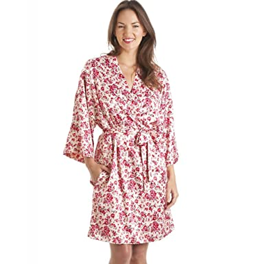 Conjunto de camisón y bata estilo Kimono - Estampado floral - Rosa 38/40