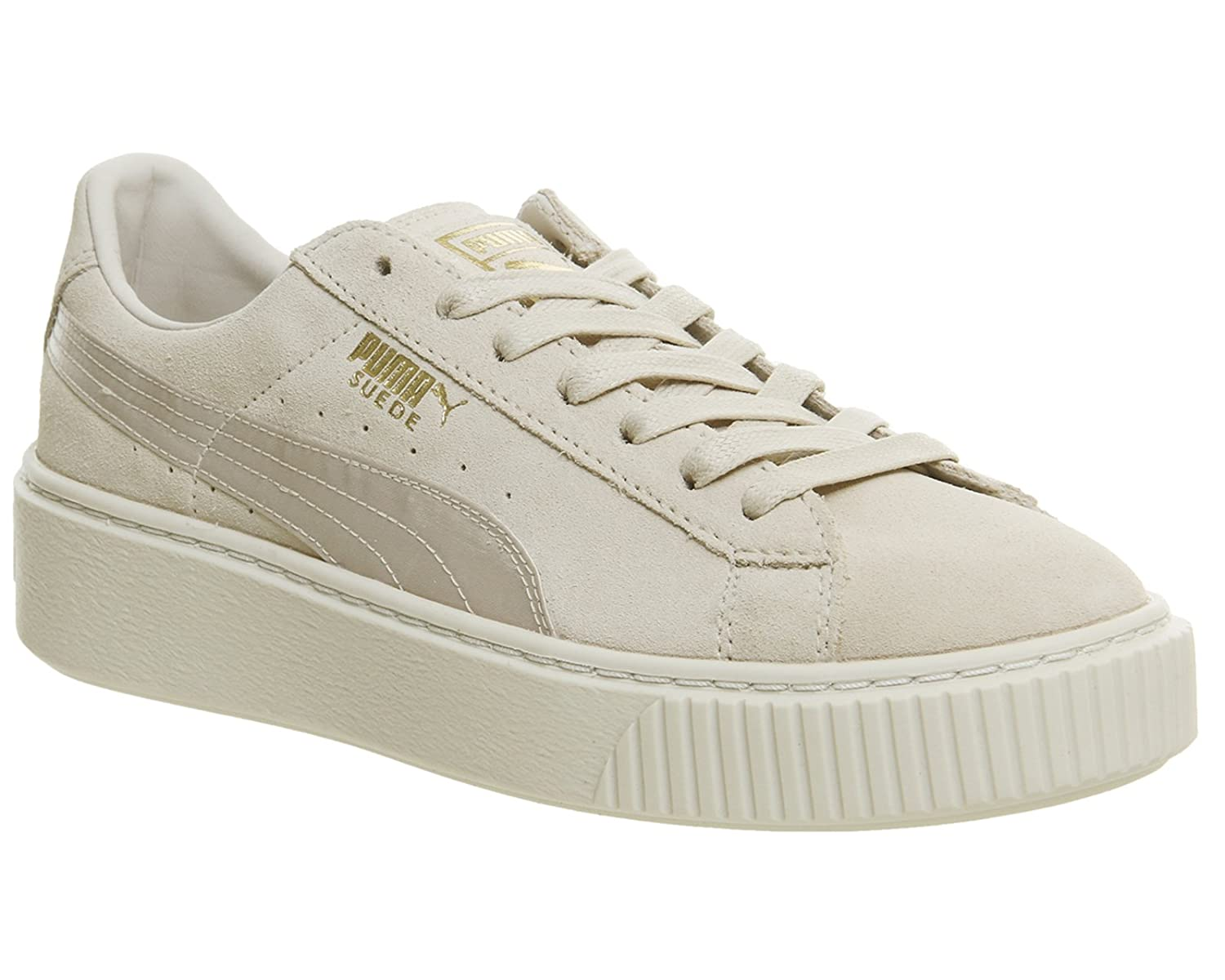 new product c3d14 82246 Puma Womens Suede Platform Mono Satin Trainers in Beige ...