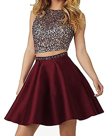 450fbed63e5 Image Unavailable. Image not available for. Color  Elinadrs Elinadress Women  Short A Line Two Piece Prom Dress Homecoming Gown Burgundy