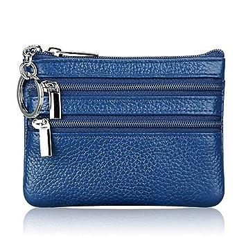 VIccoo Mujer Hombre Cuero Monedero Tarjeta Cartera Embrague Doble Cremallera Pequeño Cambio Bolsa - Azul: Amazon.es: Hogar