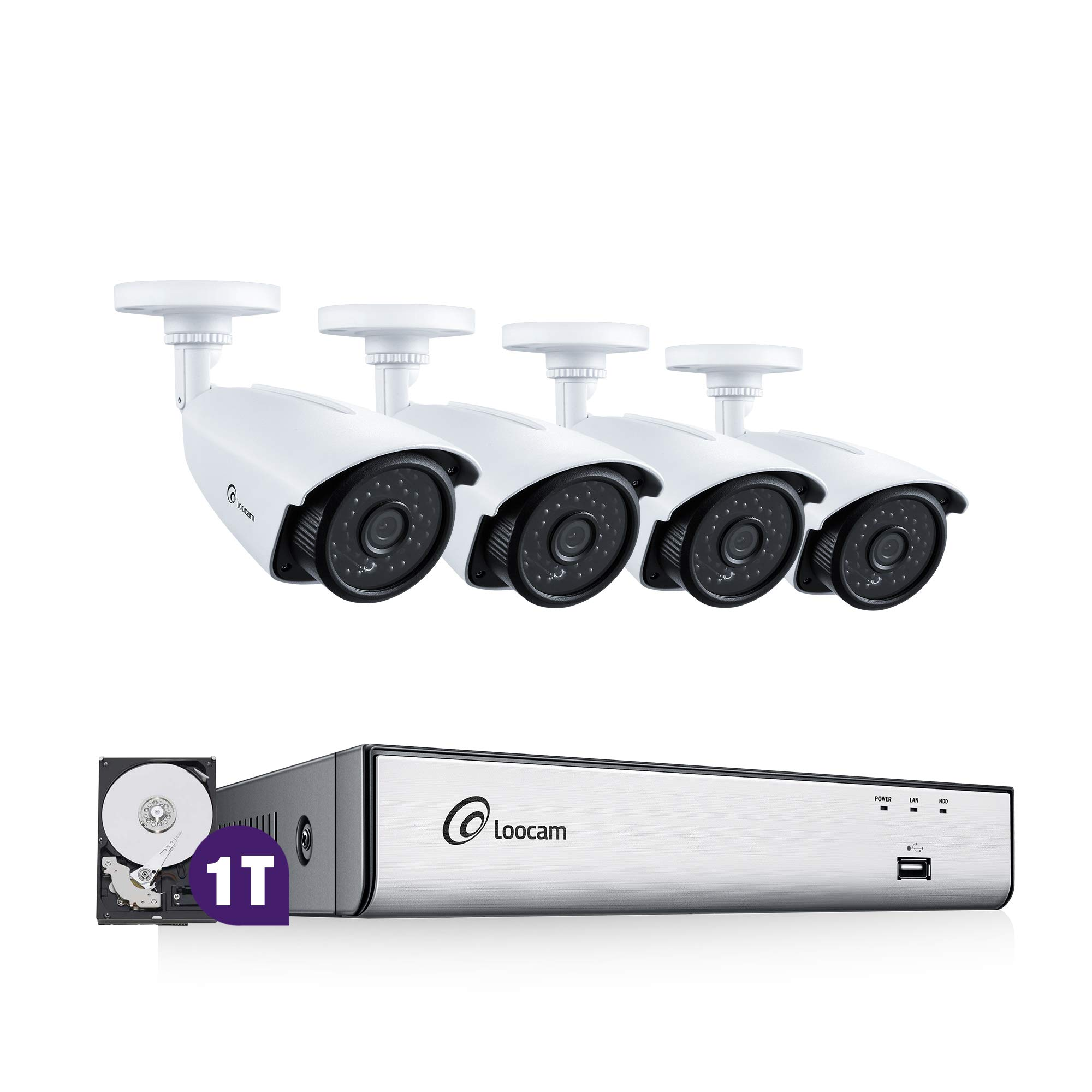 Loocam 2K 4MP 4CH Video Surveillance DVR Kit, 4 Megapixel Waterproof IP67 Bullet Security Cameras, 150Ft IR-Cut LED Night Vision, Pre-Installed 1TB HDD, Smartphone&PC Remote Access
