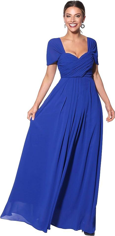 TALLA 48. KRISP Vestido Mujer Fiesta Largo Talla Grande Hombro Descubierto Invitada Boda Dama Azul (4815)