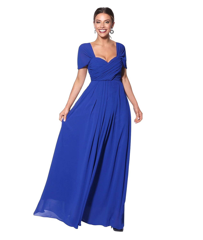 TALLA 48. KRISP Vestido Fiesta Largo Talla Grande Boda Elegante Plisado Noche Azul (4815)
