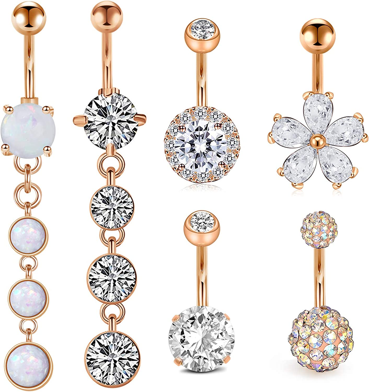 1 PC No-Dangle Belly Button Ring  Flower  Piercing Body Type Clear Gem 14G