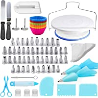 Cake Decorating Kit, 106 PCS Baking Supplies With 11 Inch Cake Turntable, cake sculpting tools Icing Tips, Cake Spatulas…