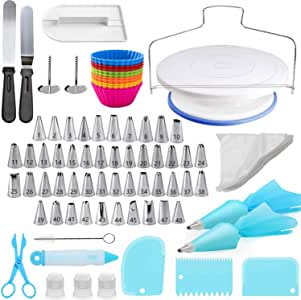 Cake Decorating Kit, 107 PCS Baking Supplies With 11 Inch Cake Turntable, Cake Sculpting Tools Icing Tips, Cake Spatulas, Pastry Tools, Cutter, Cake Nozzles for Beginners and Professional