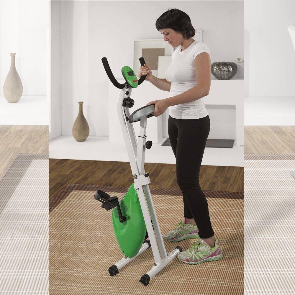 Bicicleta magnética plegable Newpower de tamaño compacto con pedales anti deslizantes, 8 niveles de resistencia y micro-computadora LCD con funciones scan, ...