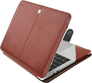 MOSISO MacBook Pro 15 inch Case 2019 2018 2017 2016 Release A1990 A1707, PU Leather Book Folio Protective Stand Cover Sleeve with Clear Strip Compatible with MacBook Pro 15 inch, Brown