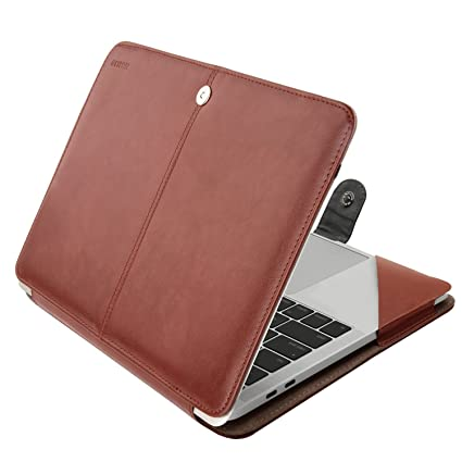 online retailer 66751 758df MOSISO PU Leather Case Compatible MacBook Pro 15 Inch 2019 2018 2017 2016  Released A1990 A1707 with Touch Bar, Book Folio Protective Cover Stand ...