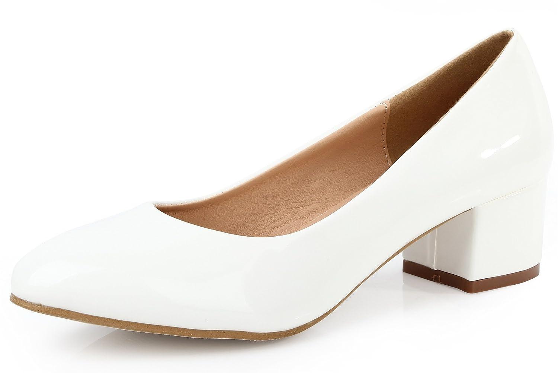 AgeeMi Shoes Mujer Tacón Medio Sólido Sin Cordones Puntera Cerrada de Salón