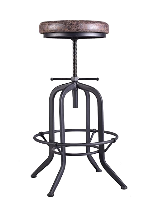 Miraculous Industrial Bar Stool Adjustable Swivel Vintage Pu Leather Stool Rustic Cast Iron Stool Round Cushion Seat Metal Pipe Stool Coffee Kitchen Counter Forskolin Free Trial Chair Design Images Forskolin Free Trialorg