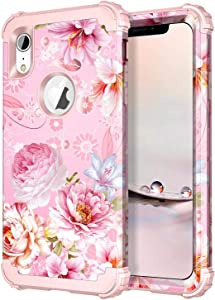 Hekodonk Compatible with iPhone XR Case, Floral Heavy Duty Shockproof Fullbody Protective Impact Hybrid Cover for Apple iPhone 10R 6.1