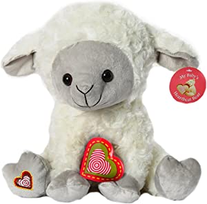 "My Baby's Heartbeat Bear - Lamb Stuffed Animal w/ 20 sec Voice Recorder - Lil 8"" Lamb"