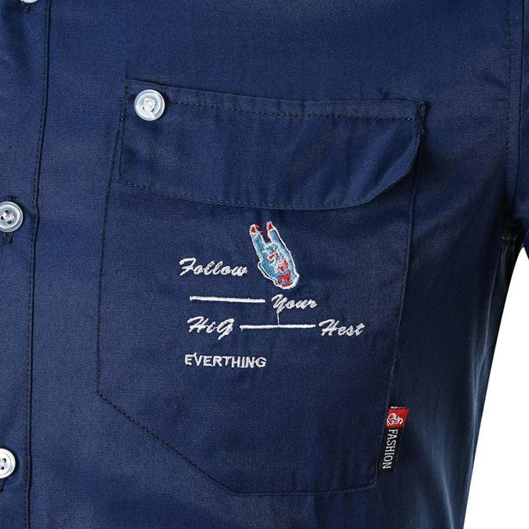 Joopee Men Retro Cowboy Short Sleeve Tops Casual Turndown Collar Button Shirt