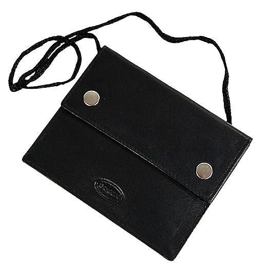 70be50e6043f9 BOCCX Kleiner Brustbeutel aus weichem Leder mit Klarsichtfach für Ausweis  Brusttasche Security Wallet GoBago 10018 schwarz
