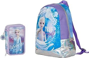 Mochila Asilo Frozen Regina de los Ghiacci redonda original nueva colección + estuche 2 pisos completo + llavero Girabrilla + bolígrafos con purpurina + marcapáginas: Amazon.es: Equipaje