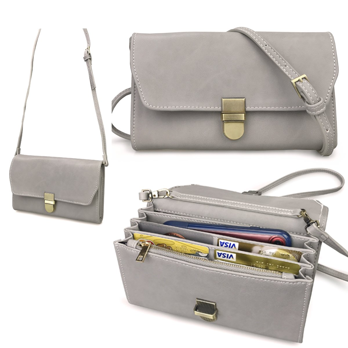 Organizer Purse Flap Top Cross Body Bag Womens Smartphone Wallet (Gray)