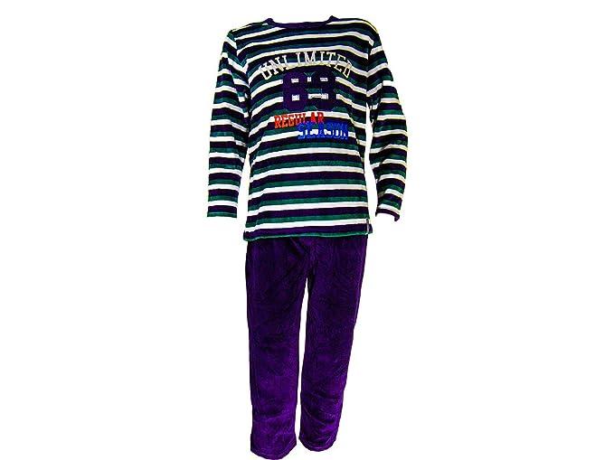 Pijama tundosado (terciopelo) manga larga Niño - Juvenil A-M - 8, Azul marino