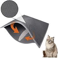 Asobeage Doppio Strato Tappetino Lettiera per Gatto 30 X 24 inch, Impermeabile Tappeto di Atterraggio Cat Litter Mat Facile da Pulire Non Tossico (Grigio)