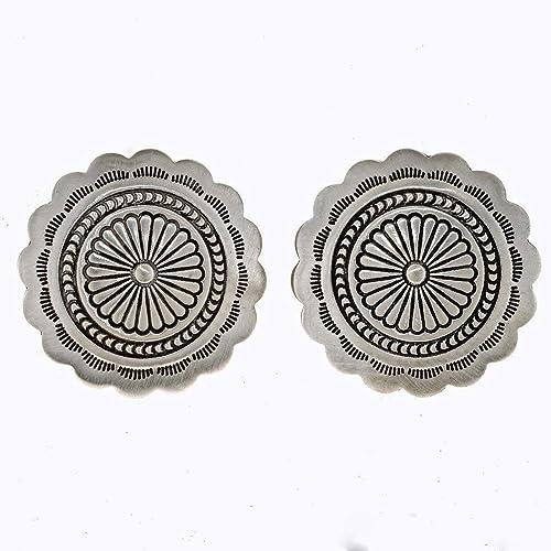 Amazon Silver Concho Earrings Santa Fe Finish Navajo