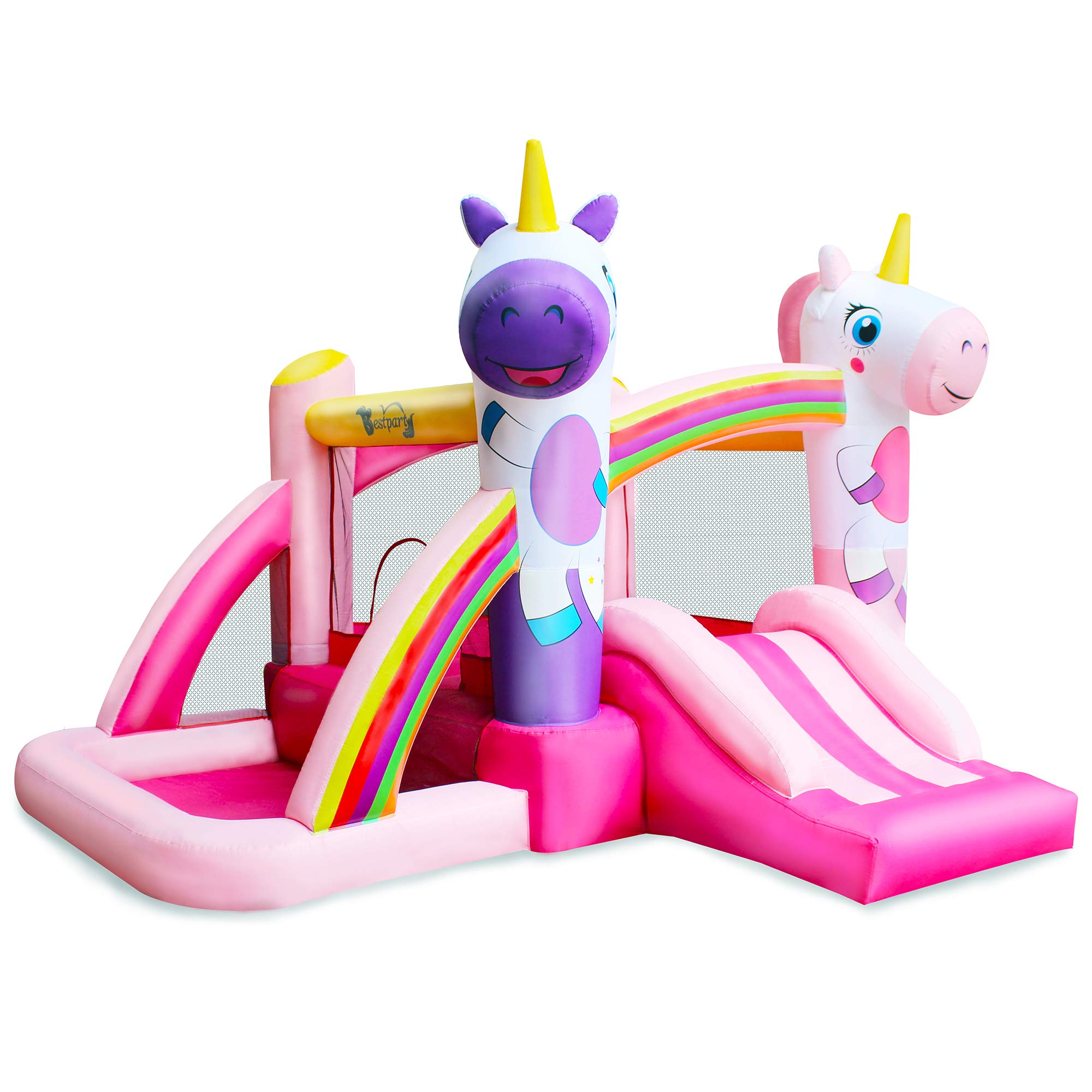 BESTPARTY Inflatable Bounce House with Slide for Princess Pink Unicorn Inflatable Bouncer House Jumper Houses by BESTPARTY (Image #1)