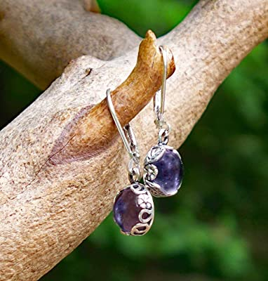 Recycled Early 1900's Purple Medicine Bottle Sterling Silver Botanical Collection Leverback Earrings