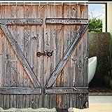 Rustic Country Barn Wood Door Bath Shower Curtain, YIGER Mildew Resistant Waterproof Old Wooden Garage Door Digital Printing Polyester Antique Theme with Adjustable Hook 70.86×70.86 Inch