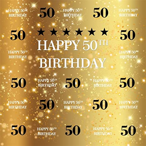 AOFOTO 7x7ft Happy 50th Birthday Background 50 Years Old Party Decoration Photography Backdrop Abstract Shiny Stars