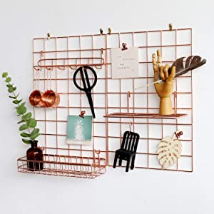 """FRIADE Wall Grid Panel for Photo Display,Wall Storage Organizer,5 Metal Clips & 3 S Hooks & 4 Nails & 4 Plastic Hanging Buckles and 4 Screws Offered,Size 17.5"""" x 11.8"""",2 Pack(Rose Gold)"""
