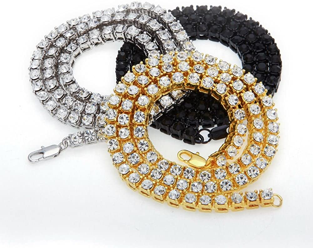 TOOGOO Mode Hommes Hip Hop Bling Bling Tennis Chaine 1 Ligne Colliers Hommes Chaine Or 20 pouce