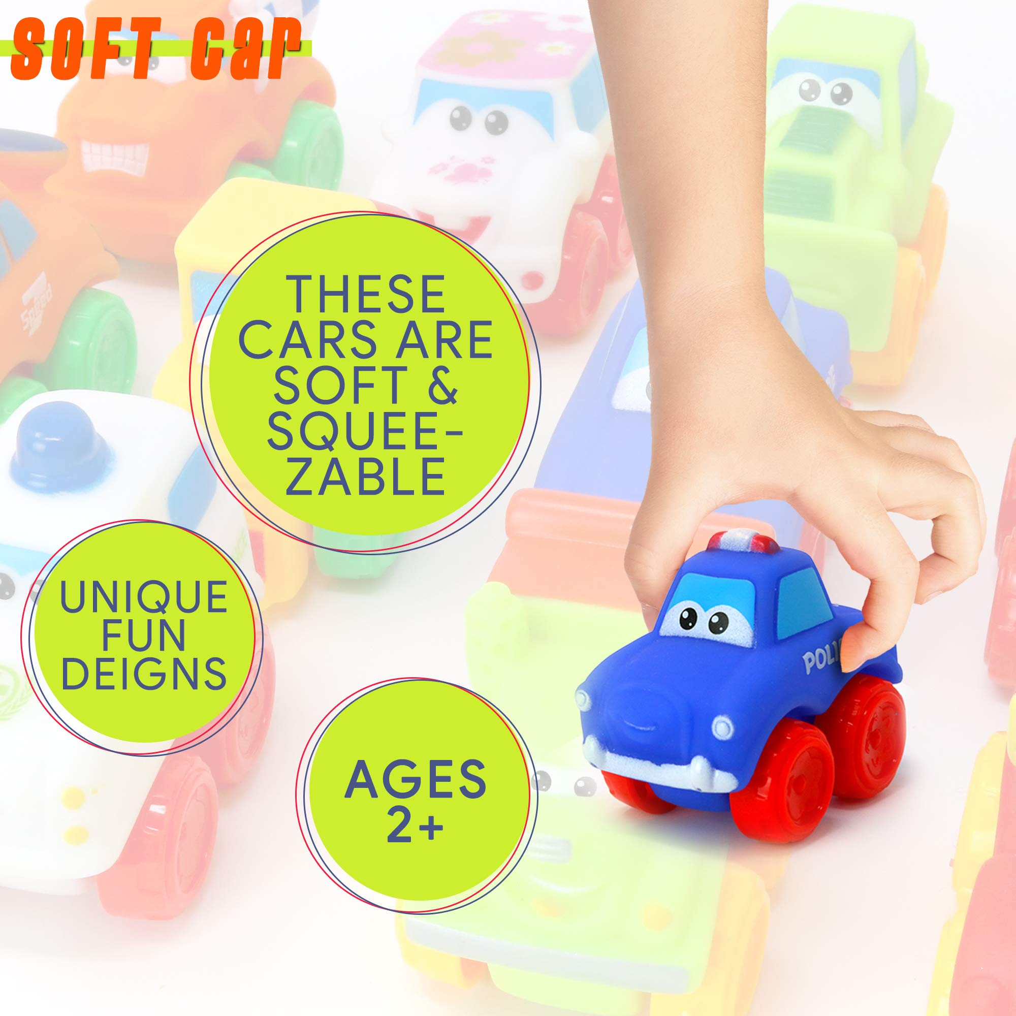Big Mo's Toys Baby Cars - Soft Rubber Toy Vehicles for Babies and Toddlers - 12 Pieces by Big Mo's Toys (Image #4)