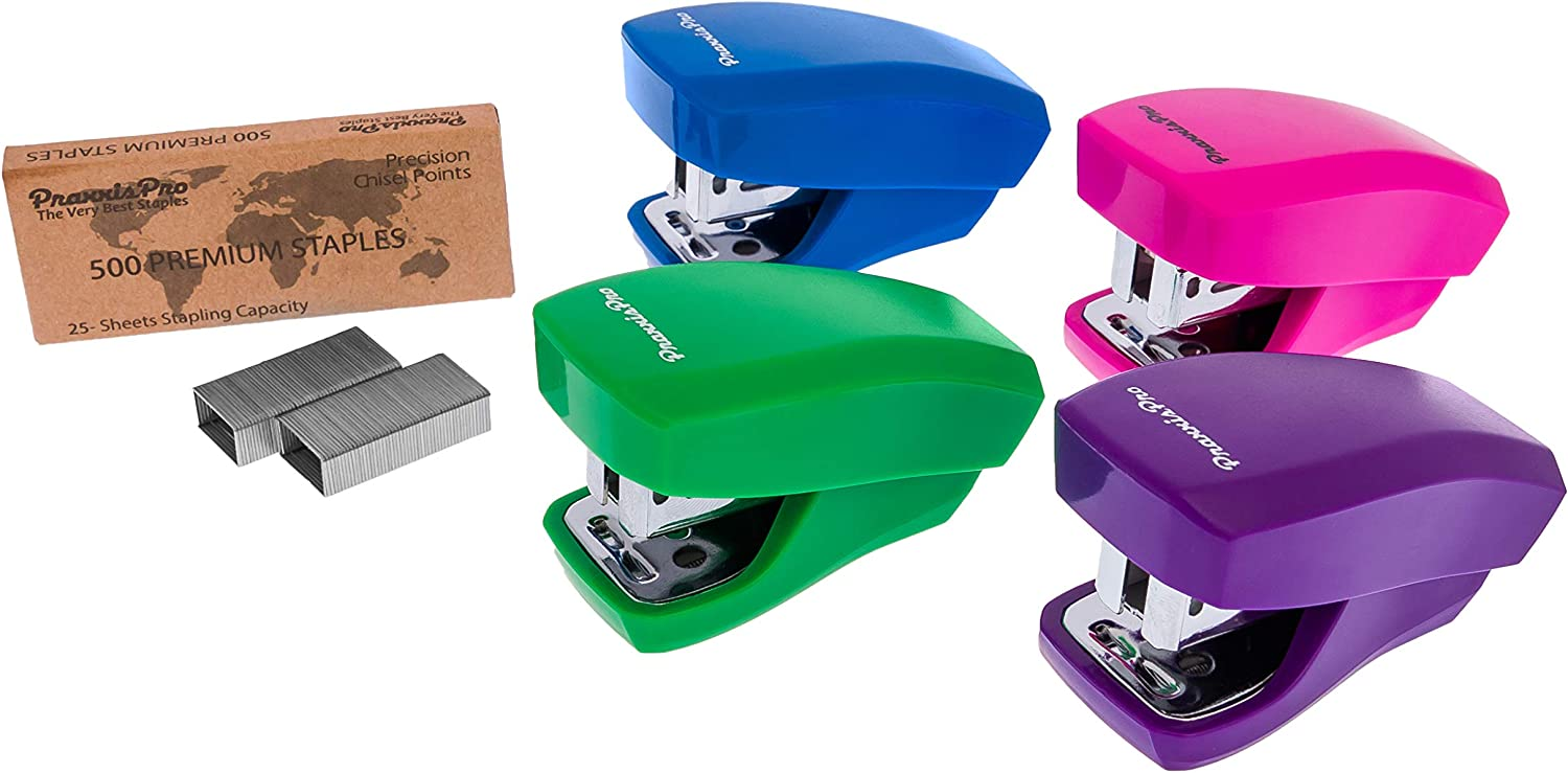 PraxxisPro, Mini Staplers, Built in Staple Remover, Staples 2 to 18 Sheets. (Blue, Pink, Purple, Green)