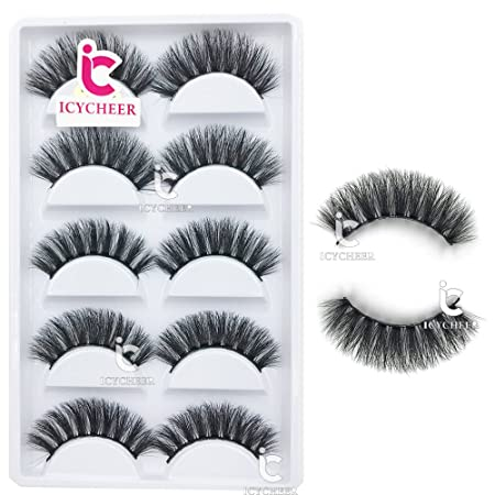 c32567d7bfb ICYCHEER 5 Pairs/box 100% 3D Mink Fur False Eyelashes Natural Wispy Fake  Eye Lashes Handmade Long Natural Soft Extension Volume Fluffy:  Amazon.com.au: ...