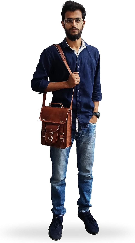 Mens Business Bag Briefcase Mens Leather Handbag Shoulder Bag Retro Leather Satchel Unisex Long Strap Crossbody Travel Messenger Bags 15.2 Inch 2 Colors Adjustable shoulder bag travel on business tri