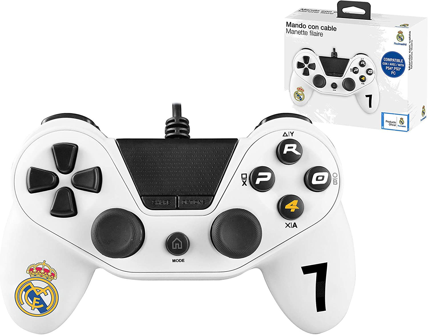 Mando con cable Pro4 controller para consola PS4 / Slim/ Pr - PC -PS3 - Accesorios de videojuegos Real Madrid: Amazon.es: Videojuegos