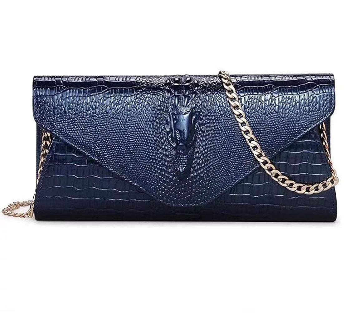 bluee KB Women's Clutch Leather Leather Dinner Bags
