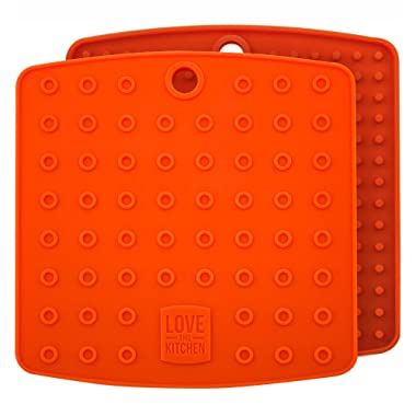Fall Orange Color Silicone Trivet Mats/Hot Pads, Pot Holders, Spoon Rest, Jar Opener & Coasters - Our Premium 5 in 1 Kitchen Tool is Heat Resistant to 442 °F, Thick & Flexible (7  x 7 , 1 Pair)