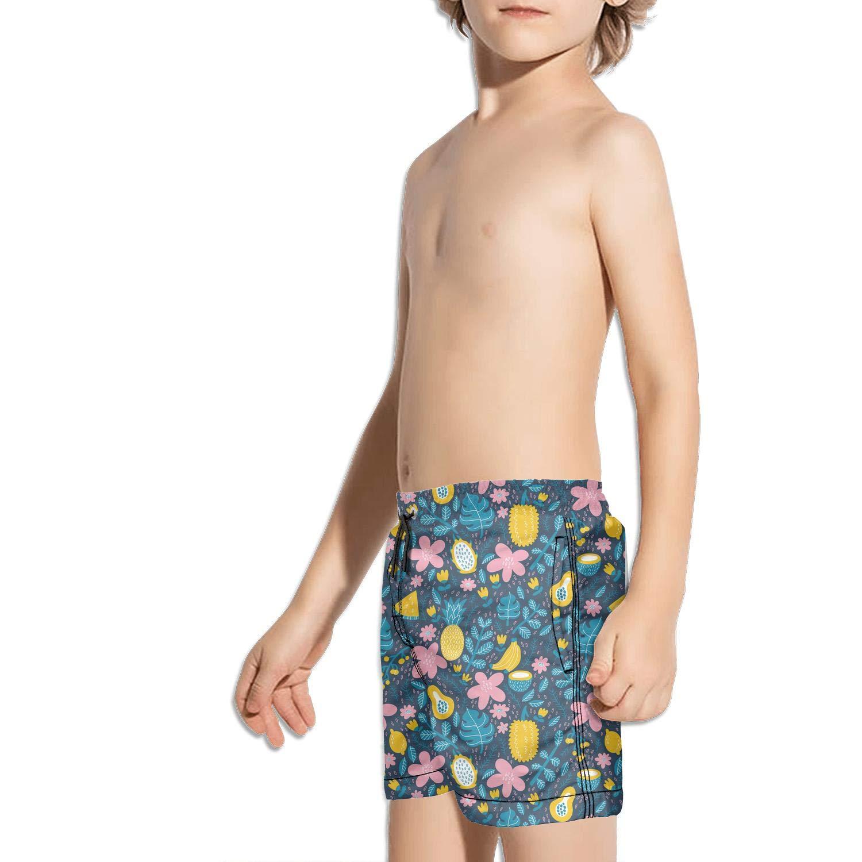 Black Pineapple Coconut Juice Shorts Swim for Kid Quick Dry Side Split Printed Swimming Tucks Active Brief