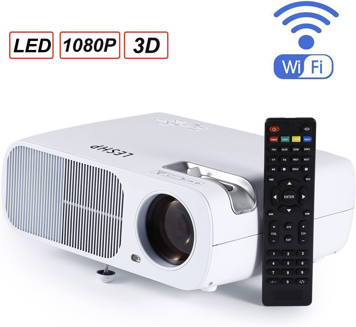 Proyector, LESHP LED WiFi 3D Bluetooth, 2600 Lúmenes, hasta 1080P ...