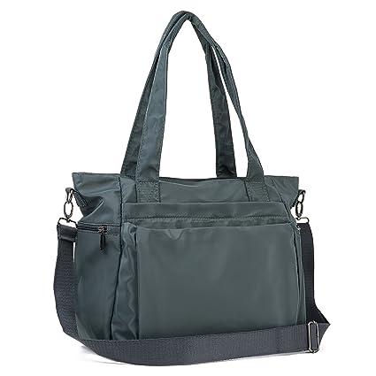 935de8d36ffb Amazon.com  ZORESS Women Fashion Large Tote Shoulder Handbag Waterproof  Multi-function Nylon Travel Messenger Bags (Grey)  ZORESS Factory Shop