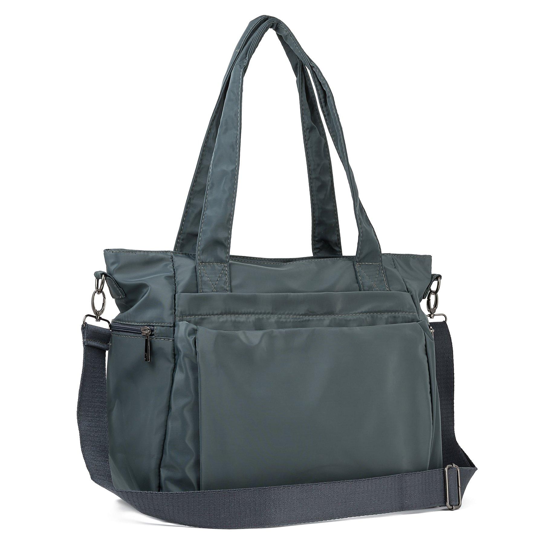 ZORESS Women Fashion Large Tote Shoulder Handbag Waterproof Multi-function Nylon Travel Messenger Bags (Grey)