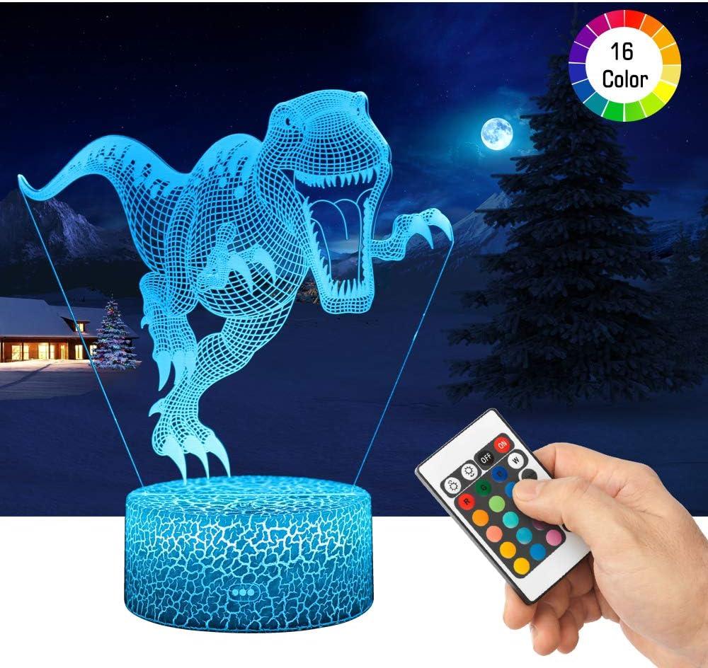 LED Lámpara de Mesa 3D Dinosaurio con Control Remoto Sensor Tacto, QiLiTd Regulable Lámpara de Noche de Atmósfera Modo RGB, Decoracion Cumpleaños, Navidad Regalos de Mujer Bebes Hombre Niños Amigas