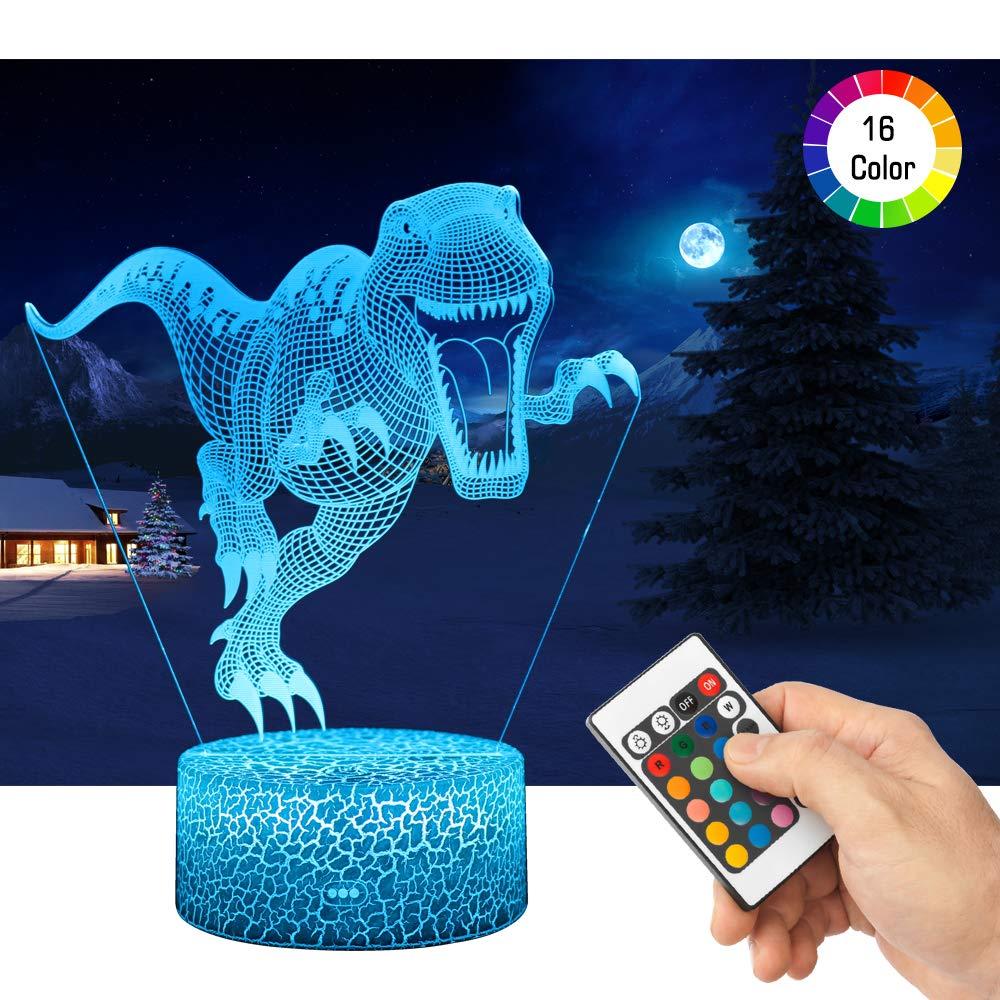 LED Lámpara de Mesa 3D Dinosaurio con Control Remoto Sensor Tacto, QiLiTd Regulable Lámpara de Noche de Atmósfera Modo RGB, Decoracion Cumpleaños, ...