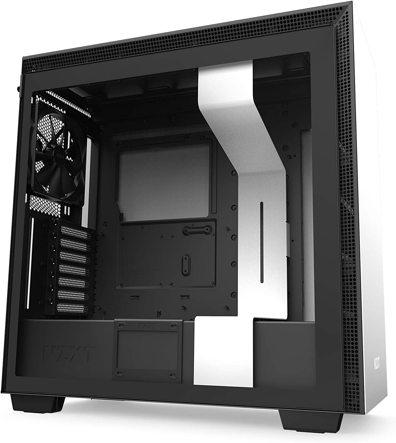 NZXT H710 - CA-H710B-W1 - ATX Mid Tower PC Gaming Case - Front I/O USB Type-C Port - Quick-Release Tempered Glass Side Panel - Cable Management System - Water-Cooling Ready - White/Black