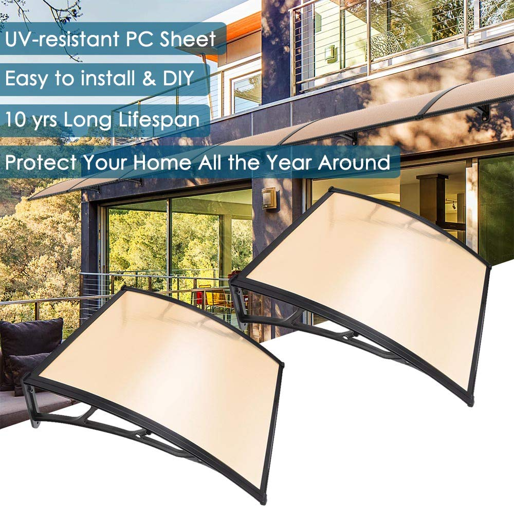 Yescom 2Pcs 40x40'' Window Door Awning Sun Shade Canopy One-Piece Polycarbonate Sheet UV Rain Protection Outdoor