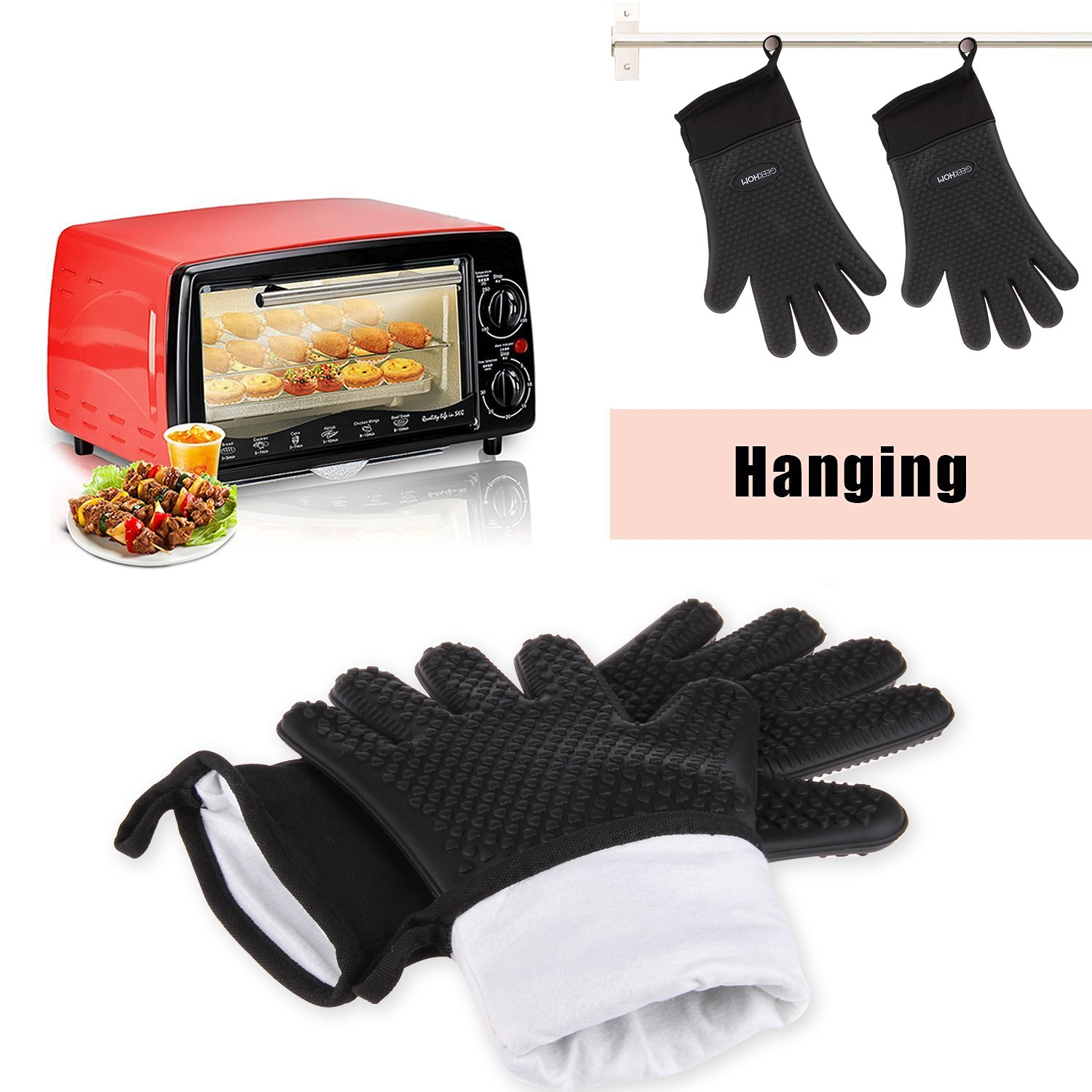 GEEKHOM Grilling Gloves, Heat Resistant Gloves BBQ Kitchen Silicone Oven Mitts, Long Waterproof Non-Slip Potholder for Barbecue, Cooking, Baking (Black) by GEEKHOM (Image #7)