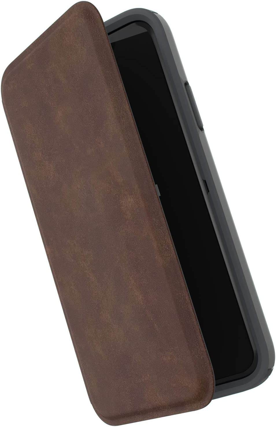 Speck Products Presidio Folio Leather iPhone Xs/iPhone X Case, Saddle Brown/Light Graphite Grey