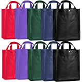 10 Packs of Recycled Polypropylene Reusable Grocery Shopping Bag with Snap Button, 5 Color Variety